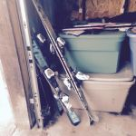 Skis and poles that once made their owners look majestic now await a long season of garage rafters.