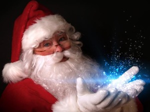 Santa holding magical lights in hands